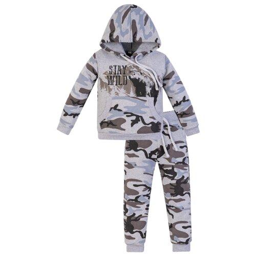 Купить Спортивный костюм Утенок размер 116, серый меланж/медведь, Спортивные костюмы