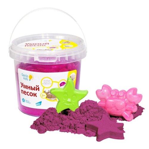 Купить Кинетический песок Genio Kids Умный с формочками, розовый, 1 кг, пластиковый контейнер