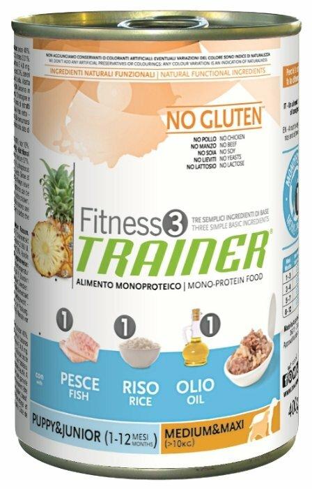 Корм для собак TRAINER Fitness3 No Gluten Puppy&Junior Medium&Maxi Fish and rice canned (0.4 кг) 1 шт.