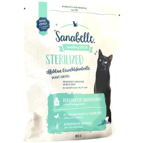Фото - Сухой корм для стерилизованных кошек Sanabelle Sanabelle Sterilized Weight Control 400 г sanabelle sanabelle snack полувлажное лакомство для кошек для улучшения пищеварения с сайдой и инжиром 55 г