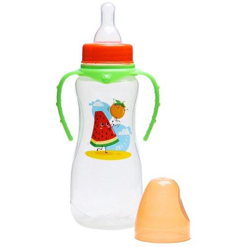 бутылочка для кормления люблю маму и папу 250 мл приталенная с руч цвет крас 2969835 Бутылочка для кормления Арбуз 250 мл приталенная, с ручками 4644205