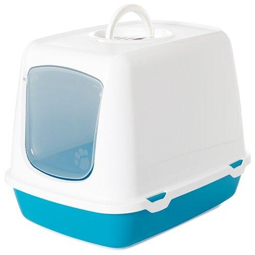Туалет-домик для кошек SAVIC Oscar 50х37х39 см белый/голубой 1 шт.