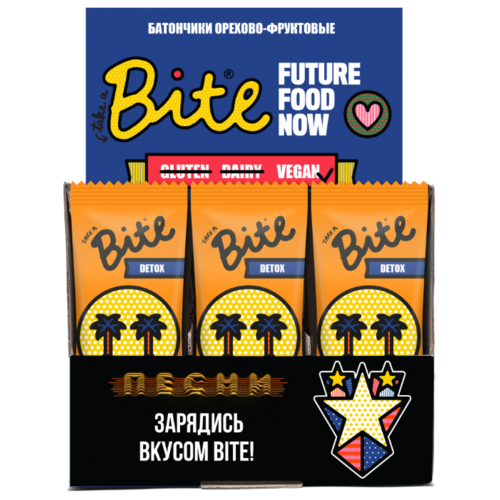 Фруктовый батончик Bite Box Detox без сахара Абрикос и миндаль, 20 шт