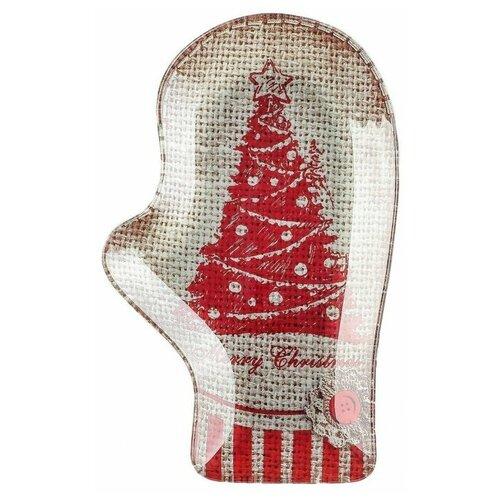 Фото - Доляна Блюдо Рукавица Merry Christmas 22.5 х 14 см коричневый/красный мочалка доляна медвежонок 4442512 коричневый красный
