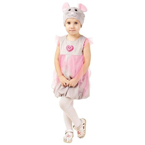 Купить Костюм пуговка Мышка (928 к-18), серый/розовый, размер 104, Карнавальные костюмы
