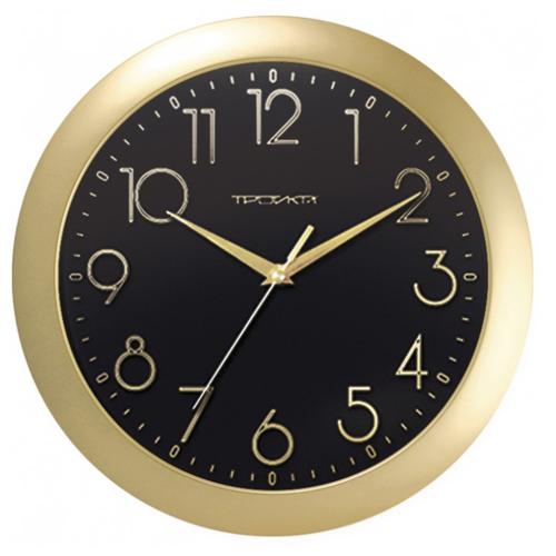 Часы настенные кварцевые Тройка 11171180 золотистый.