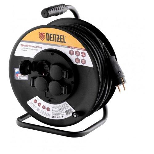 Denzel Удлинитель силовой на стальной катушке, КГ 3х1,5 30 м, 4 розетки с крышкой, IP40, 16 А, серия УХз16 1208470 brennenstuhl удлинитель на катушке garant 40 м прорезинный кабель cablepilot