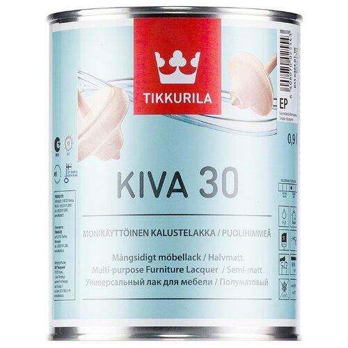 Лак Tikkurila Kiva 30 полиакриловый бесцветный 0.9 л лак акрилатный tikkurila kiva 70 ep глянцевый 0 9 л