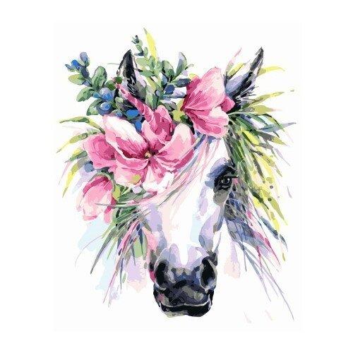 ВанГогВоМне Картина по номерам Лошадь с венком , 40х50 см (ZX 22199), Картины по номерам и контурам  - купить со скидкой