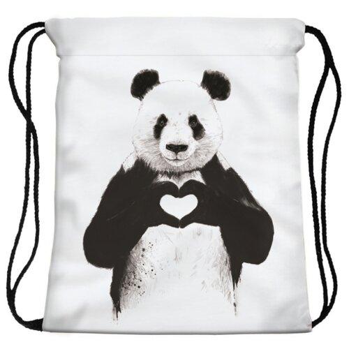 HOMSU сумка-мешок для сменной обуви Panda heart (PF-S-49) белый / черный panda s pyjama s