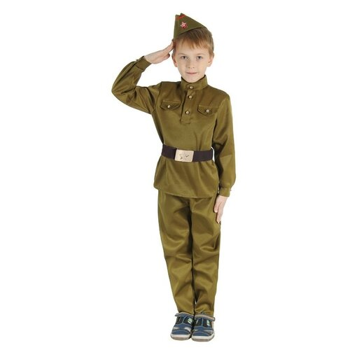 Купить Костюм Страна Карнавалия Военный (1267933-1267936, 1518650-1518651, 2277755-2277756, 3605088-3605089), зелeный, размер 146, Карнавальные костюмы