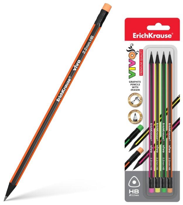 ErichKrause Набор чернографитных трехгранных карандашей с ластиком Vivo 4 шт (45624)