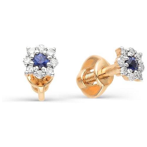 АЛЬКОР Серьги Цветы с бриллиантами, сапфирами из красного золота 22296-102