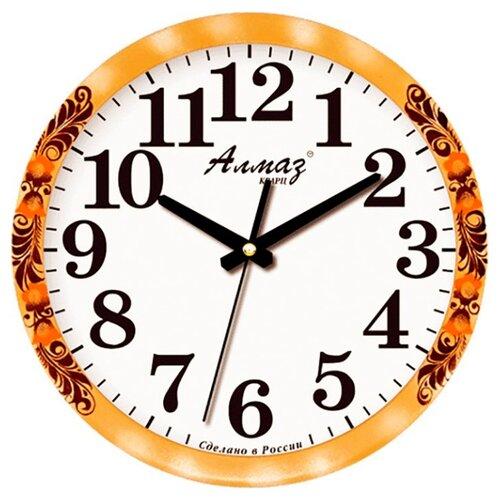 Часы настенные кварцевые Алмаз B33/B37 светло-коричневый/белыйЧасы настенные<br>