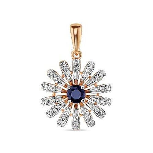 ЛУКАС Подвеска Цветок с сапфиром и бриллиантами из красного золота P01-D-L-35310-B