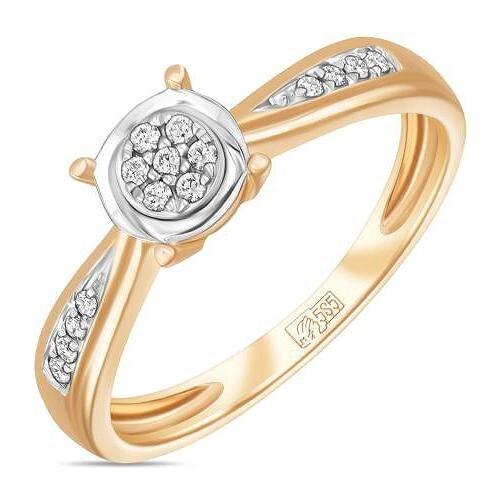 ЛУКАС Кольцо с 15 бриллиантами из красного золота R01-D-RR010012ADI, размер 16.5 кольцо из золота r01 d 68997r001 r