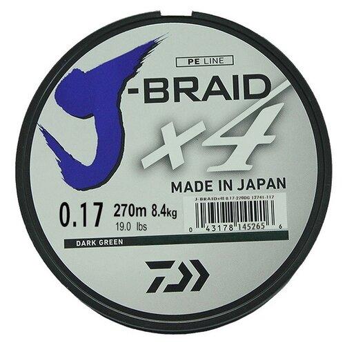 Плетеный шнур DAIWA J-Braid X4 dark green 0.17 мм 270 м 8.4 кг