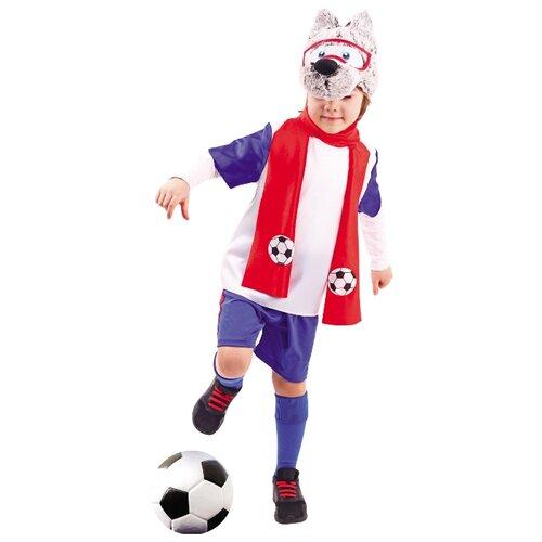 Купить Костюм пуговка Волчонок (951 к-19), синий/белый/красный, размер 110, Карнавальные костюмы