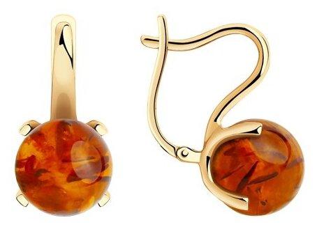 Diamant Серьги из золота с янтарём 51-320-00767-1 — купить по выгодной цене на Яндекс.Маркете