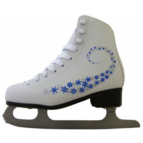 Фото - Фигурные коньки Novus AFSK-20 белый/сине-серые звезды р. 33 фигурные коньки novus afsk 20 белый голубой сине голубые звезды р 33