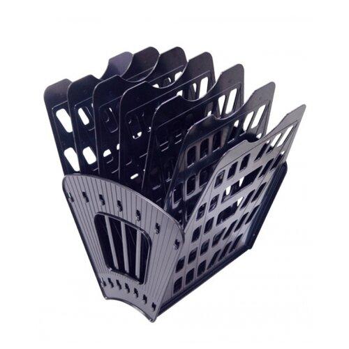 Купить Лоток веерный для бумаги СТАММ ЛТ41 (6 отд.) черный, Лотки для бумаги