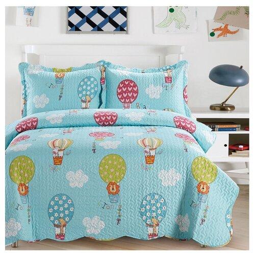 Комплект с покрывалом Arya Globos 180 х 240 см + наволочка 50 х 70+5 см голубой