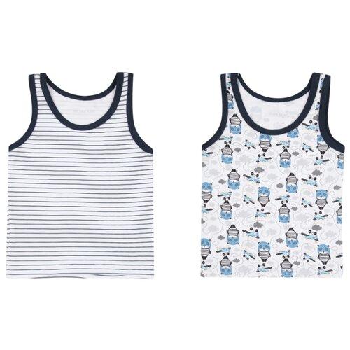 Купить Майка Leader Kids 2 шт., размер 98-104, белый/синий, Белье и пляжная мода