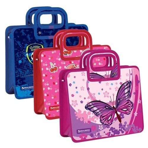 brauberg папка сумка на молнии а5 девочка футбол бабочка ассорти BRAUBERG Папка-сумка на молнии А5 Девочка, Футбол, Бабочка ассорти