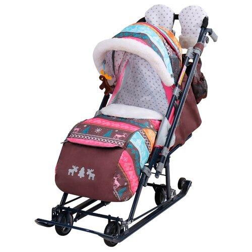 Санки-коляска Nika Ника Детям 7-7 (НД7-7) скандинавский розовый nika kids санки коляска ника детям умка 3 3 принт вязаный
