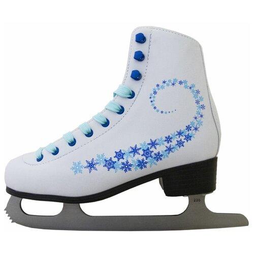 Фигурные коньки Novus AFSK-20 белый/голубой/сине-голубые звезды р. 30 по цене 2 001