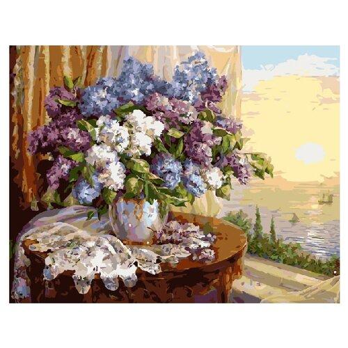 Купить ВанГогВоМне Картина по номерам Сирень в лучах заката , 40х50 см (ZX 20389), Картины по номерам и контурам