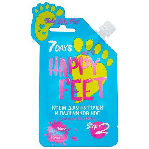 7DAYS happy feet Крем для пяточек и пальчиков ног Baby silky feet с маслами ши и мяты 25 г пакет