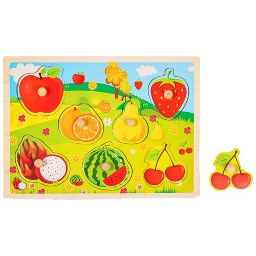 Рамка-вкладыш Лесная мастерская Фрукты и ягоды (2567244), 7 дет. зеленый/желтый