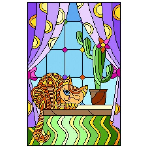 рисуем осень канва с нанесенным фоном 37 49 37х49 26х40 матренин посад 1722 Витраж. Хитрый кот Рисунок на канве 37/49 37х49 (26х40) Матренин Посад 1920