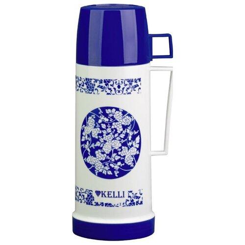 Классический термос Kelli KL-0974, 1.8 л белый/синий