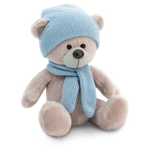 мягкая игрушка медведь choco сидячий в вязанной шапке с сердечками Мягкая игрушка Orange Toys Медведь Топтыжкин серый в шапке и шарфе 25 см