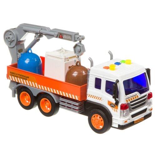 Купить Грузовик BONDIBON Парк техники Экологический сервис (ВВ4066) 1:16 27.5 см белый/оранжевый, Машинки и техника
