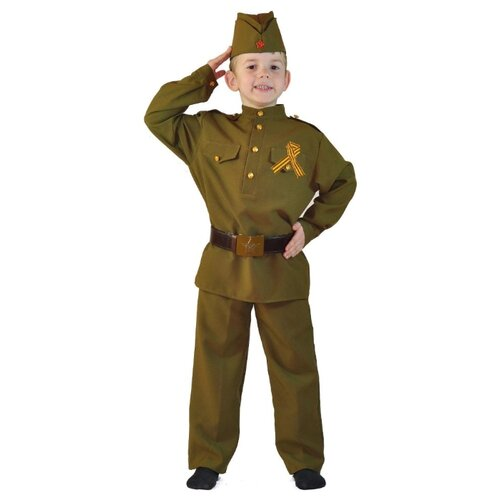Купить Костюм Карнавалия.рф Военный для мальчика (M-0109), хаки, размер 36/136-142, Карнавальные костюмы