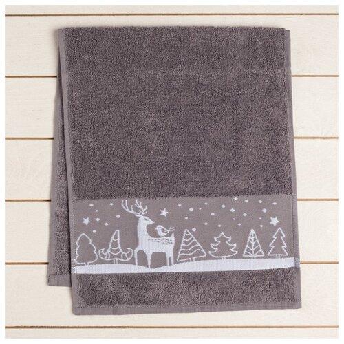 Collorista полотенце Зима принесет счастье для рук 30х70 см серый