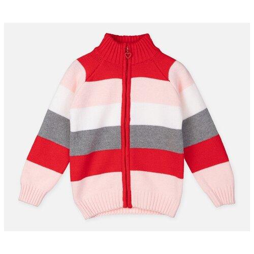 Купить Кардиган playToday размер 104, красный/светло-розовый/белый, Свитеры и кардиганы