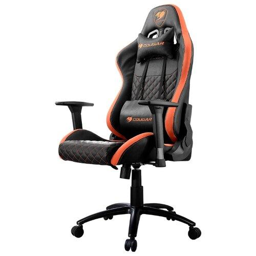 Компьютерное кресло COUGAR Rampart игровое, обивка: текстиль/искусственная кожа, цвет: черный/оранжевый коврик cougar neon x черный