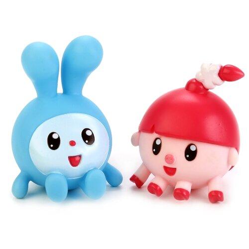 Купить Набор для ванной Играем вместе Малышарики. Крошик и Нюшенька (LX-ST1710-1708) голубой/розовый, Игрушки для ванной