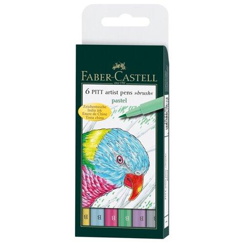 Faber-Castell набор капиллярных ручек Pitt Artist Pen Brush Pastel, 6 цветов (167163), разноцветный цвет чернил