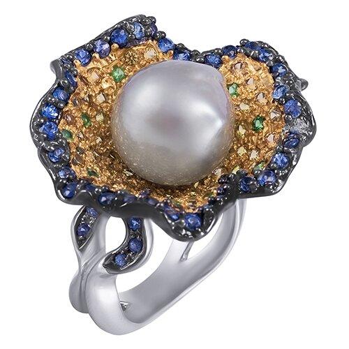 ELEMENT47 Кольцо из серебра 925 пробы с культивированным жемчугом, сапфирами и цаворитами R10283_KO_GLSA_OS_YS_TV_WP_001_WG, размер 17.5