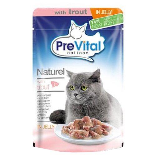 Влажный корм для кошек PreVital с форелью 2 шт. х 85 г (кусочки в желе) влажный корм для кошек prevital с индейкой 28 шт х 85 г кусочки в желе