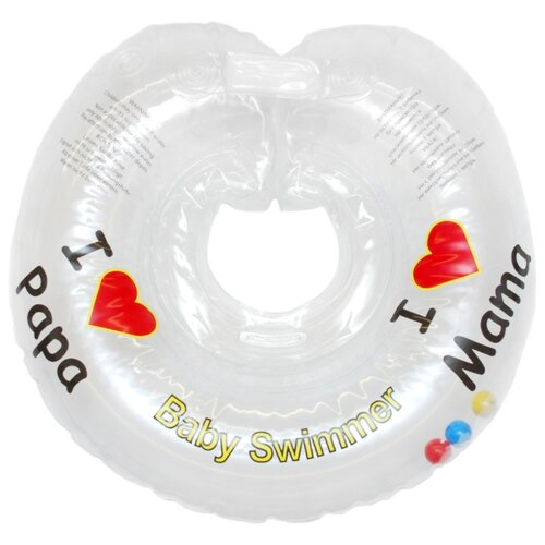 Круг на шею Baby Swimmer 3m+ (6-36 кг) Я люблю, с погремушкой прозрачный roma tearne the swimmer
