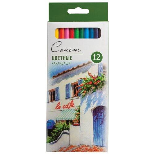 Купить Сонет Карандаши цветные профессиональные 12 цветов (13141432), Цветные карандаши