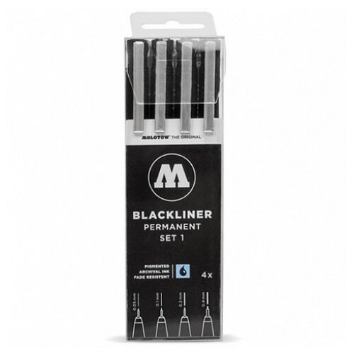 Molotow набор линеров Molotow BLACKLINER set 1 4 штуки, 200486, черный цвет чернил