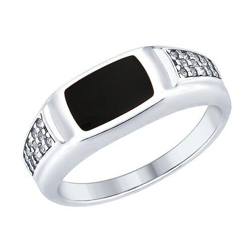 SOKOLOV Кольцо из серебра с эмалью и фианитами 94012410, размер 21.5