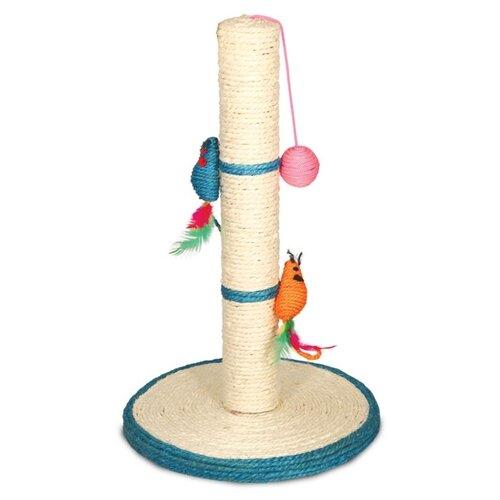 Когтеточка Triol Столбик №207 с двумя мышками и шариком 30 х 30 х 50 см белая